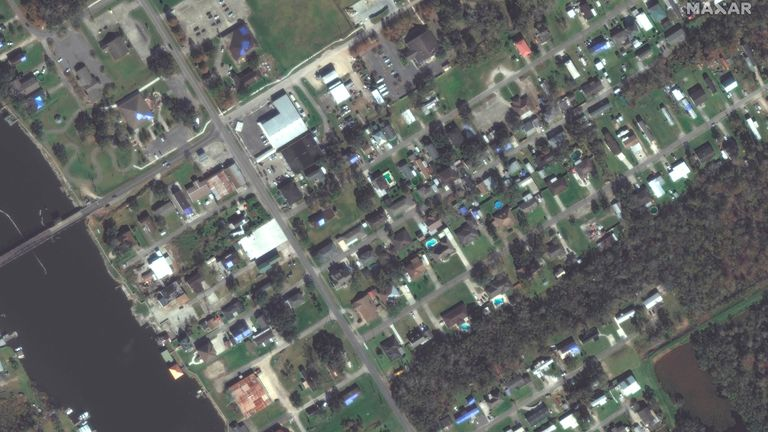 AFTER IMAGE This combination of satellite images provided by Maxar Technologies shows homes in Jean Lafitte, La., on Nov. 22, 2020, top, and the same area on Tuesday, Aug. 31, 2021, bottom, after Hurricane Ida flooded the area.  PIC:AP/MAXAR