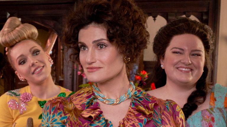 Idina Menzel (middle) plays Ella's step-mother. Pic: Amazon Studios