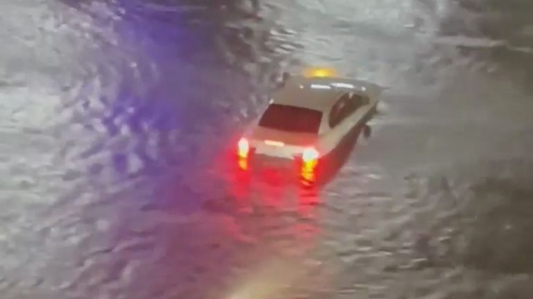 Vehicles are stranded on a flooded road in Yonkers, as local media reported the remnants of Tropical Storm Ida bringing drenching rain and the threat of flash floods and tornadoes to parts of the northern mid-Atlantic, in New York