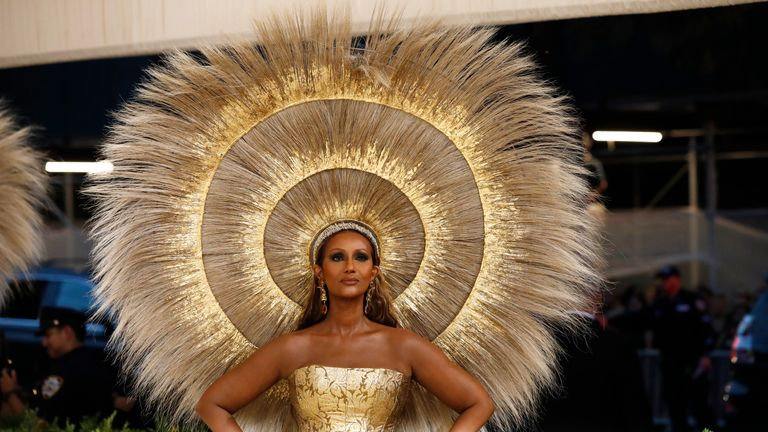 Metropolitan Museum of Art Costume Institute Gala - Met Gala - In America: A Lexicon of Fashion - Arrivals - New York City, U.S. - September 13, 2021. Iman. REUTERS/Mario Anzuoni