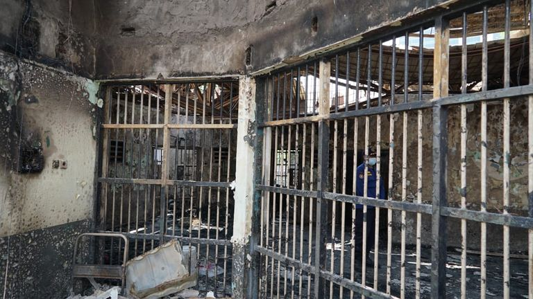 Fire damage in a cell in the overcrowded block. Pic: Ministry of Law and Human Rights Indonesia