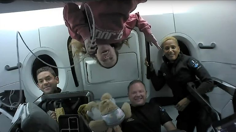 The four-member team hosted a show-and-tell session as they sped over Europe at about 17,500mph over Europe