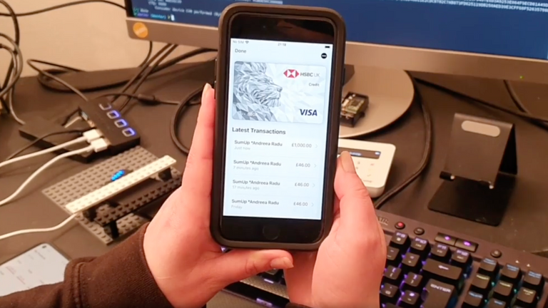 The researchers were able to transfer £1,000 from a locked iPhone. Pic: University of Birmingham