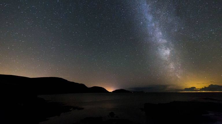 Nairbyl Bay by night stock photo Isle of Man, England, Northern Europe, Port Erin, astronomy