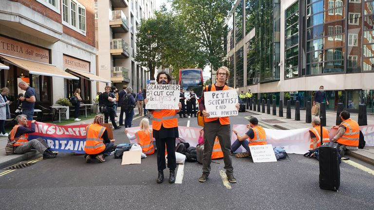 Protesters from Insulate Britain block a road outside the Home Office in central London. Picture date: Wednesday September 22, 2021.