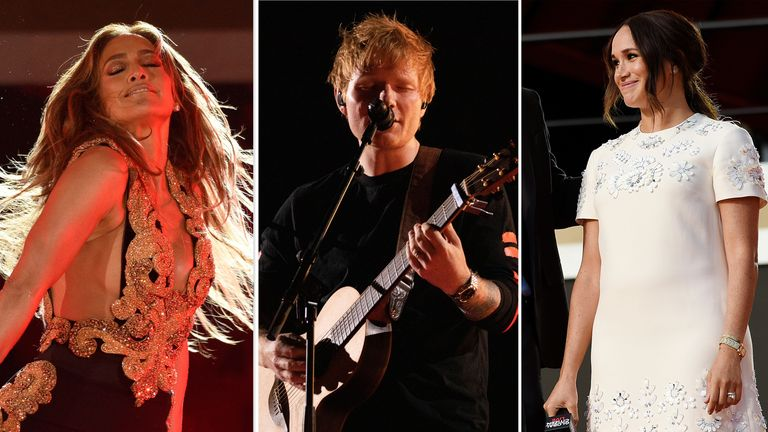 Jennifer Lopez, Ed Sheeran and the Duchess of Sussex are among those who have appeared on stage during the global event