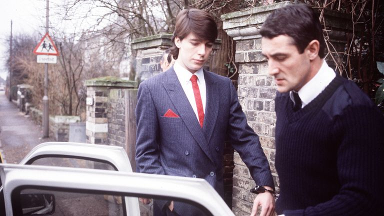 Jeremy Bamber (L) is escorted by police. Pic: Anglia Press Agency/Sky UK
