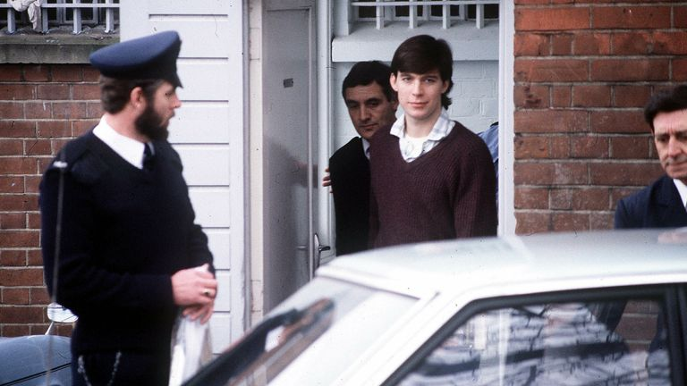 Jeremy Bamber is escorted by police: Pic: Anglia Press Agency/Sky UK