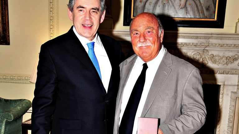 Jimmy Greaves (right) after collecting his medal presented by Prime Minister Gordon Brown (left) for representing his country in the 1966 World Cup