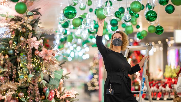 John Lewis Oxford Street Pic Shows this years John lewis Christmas Shop being prepared for opening on Fri Sept 25th 20 Pic: JLP