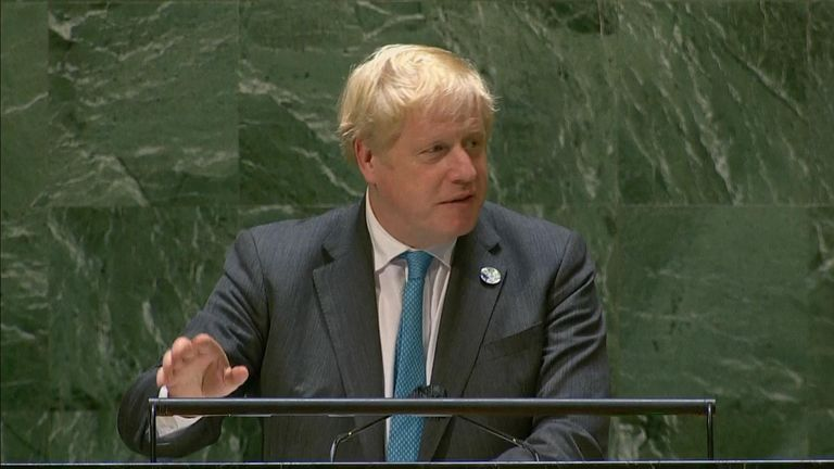 Boris Johnson addressing the United Nations General Assembly
