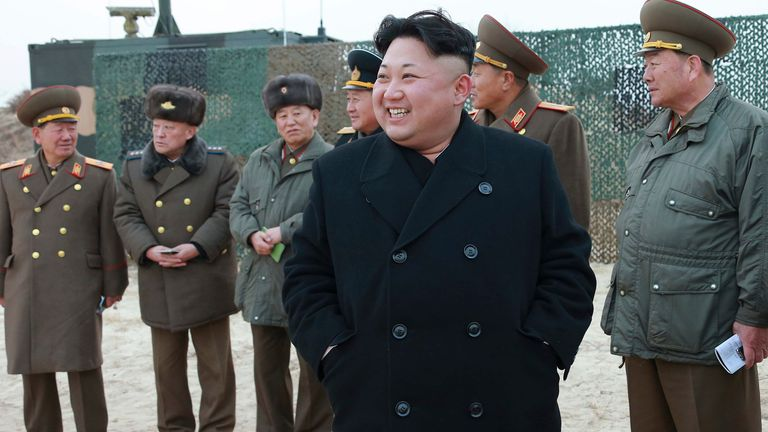 North Korean leader Kim Jong Un guides the multiple-rocket launching drill of women's sub-units under KPA Unit 851, in this undated photo released by North Korea's Korean Central News Agency (KCNA) in Pyongyang December 30, 2014. REUTERS/KCNA (NORTH KOREA - Tags: POLITICS) ATTENTION EDITORS - THIS PICTURE WAS PROVIDED BY A THIRD PARTY. REUTERS IS UNABLE TO INDEPENDENTLY VERIFY THE AUTHENTICITY, CONTENT, LOCATION OR DATE OF THIS IMAGE. FOR EDITORIAL USE ONLY. NOT FOR SALE FOR MARKETING OR ADVERTI