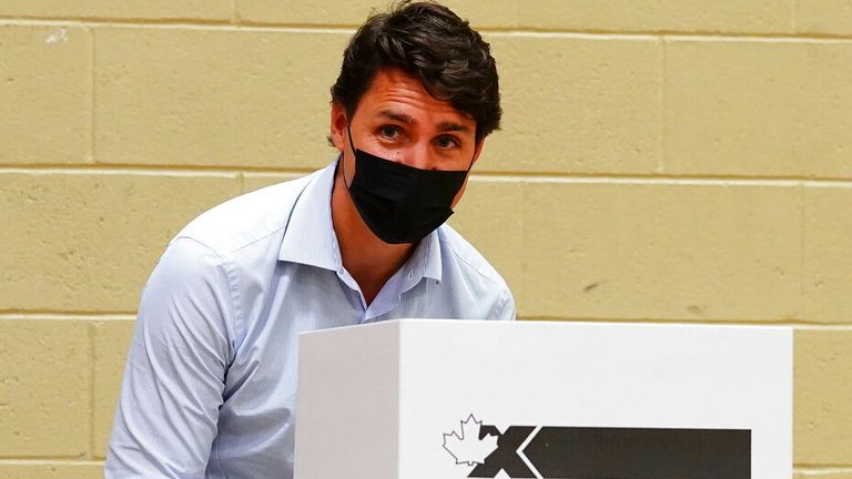 Liberal leader Justin Trudeau pictured voting in Montreal, Quebec on Monday