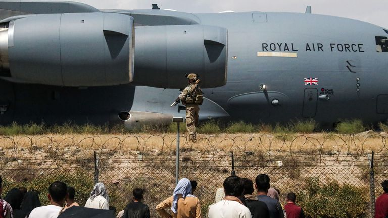 Members of the UK Armed Forces taking part in the evacuation from Kabul airport in Afghanistan. Pic: MoD
