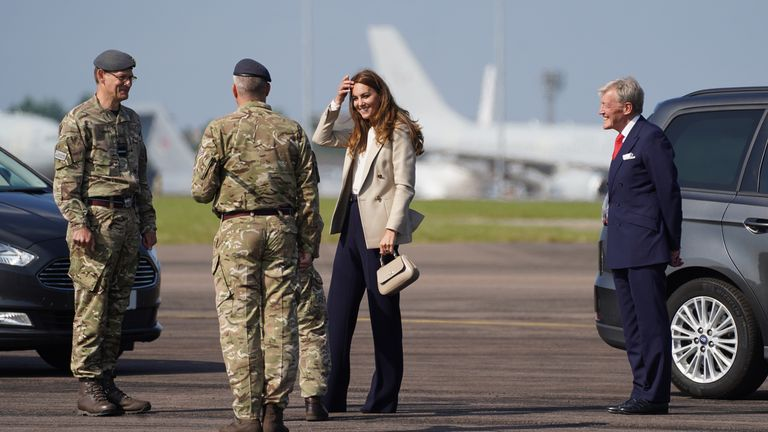 The Duchess of Cambridge arrives for a visit to RAF Brize Norton, to meet meet military personnel and civilians who helped evacuate Afghans from their country. Picture date: Wednesday September 15, 2021.  Steve Parsons/PA Wire/PA Images