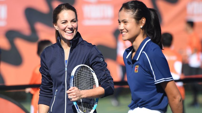 The Duchess of Cambridge with British US Open Champion Emma Raducanu during an event hosted by the LTA Youth programme