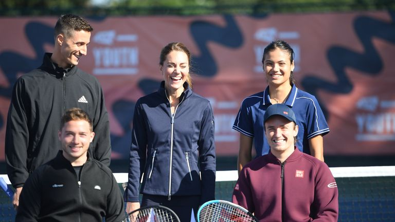 The Duchess of Cambridge meets British US Open Champions Emma Raducanu, Joe Salisbury (back row left) , Gordon Reid and Alfie Hewett (front row left) during an event hosted by the LTA Youth programme, at the National Tennis Centre in London. Picture date: Friday September 24, 2021.