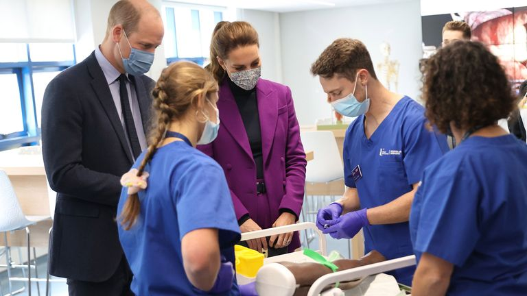 The Duke and Duchess of Cambridge talking with medical students during a tour a of Magee University in Londonderry, Northern Ireland. Picture date: Wednesday September 29, 2021.