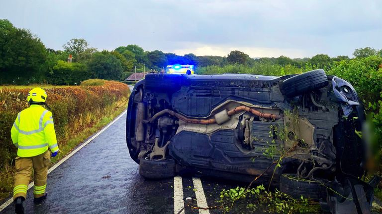 """Picture taken with consent from the Twitter feed of PC Tom Van Der Wee showing the aftermath of a single-vehicle collision on the B2135 near Partridge Green. The family of Katie Price have said they have been concerned """"for some time"""" about the TV personality's mental wellbeing after she was reportedly involved in a car collision. Issue date: Wednesday September 29, 2021."""