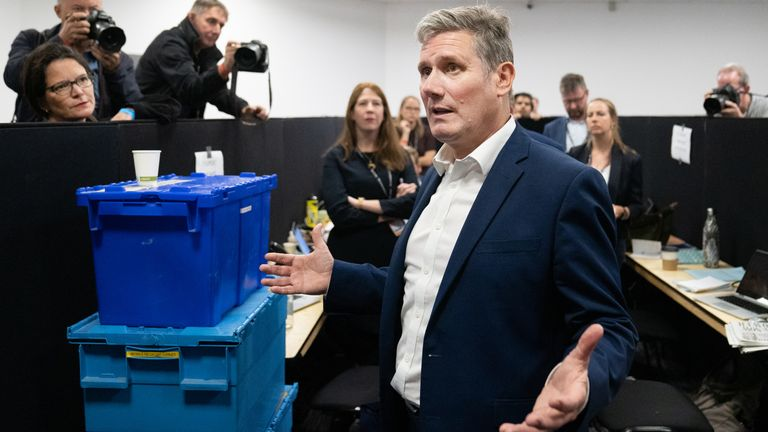 Labour leader, Sir Keir Starmer talks to the press at the Labour Party conference in Brighton.