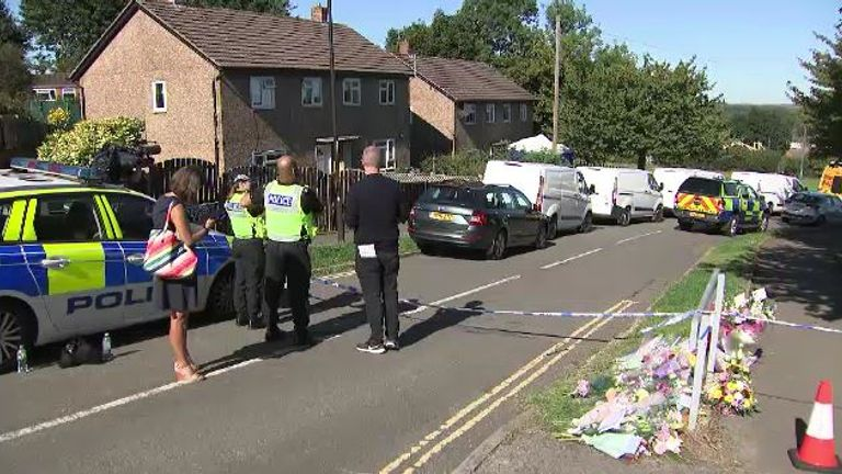 The scene at Chandos Crescent, Killamarsh, where the bodies of a woman and three children were found.