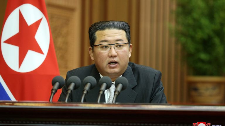 Kim Jong Un delivers a policy speech at the Mansudae Assembly Hall in Pyongyang