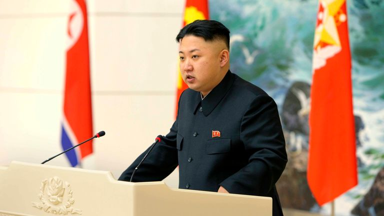 2012 - North Korean leader Kim Jong-un speaks during a banquet held for scientists, engineers, workers and officers who took part in the launch of the Unha-3 (Milky Way 3) rocket, which carried the second version of Kwangmyongsong-3 satellite, in Pyongyang in this picture released by the North's KCNA news agency December 22, 2012. REUTERS/KCNA (NORTH KOREA - Tags: POLITICS) THIS IMAGE HAS BEEN SUPPLIED BY A THIRD PARTY. IT IS DISTRIBUTED, EXACTLY AS RECEIVED BY REUTERS, AS A SERVICE TO CLIENTS.