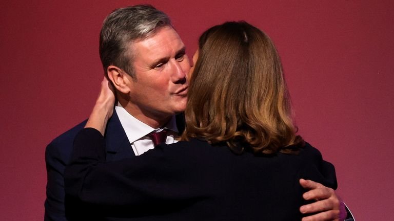 Britain's Labour Party leader Keir Starmer kisses his wife Victoria Starmer at Britain's Labour Party annual conference in Brighton, Britain, September 29, 2021. REUTERS/Hannah Mckay