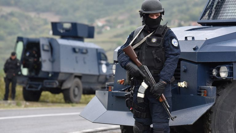Kosovo's special force deployed armoured vehicles as hundreds blocked the roads in Jarinje, Kosovo
