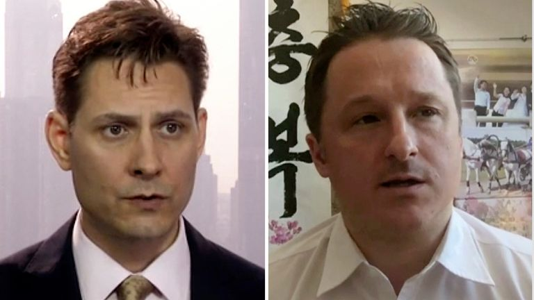 Canadian citizens Michael Kovrig and Michael Spavor were arrested in China in December 2018. Pic: AP