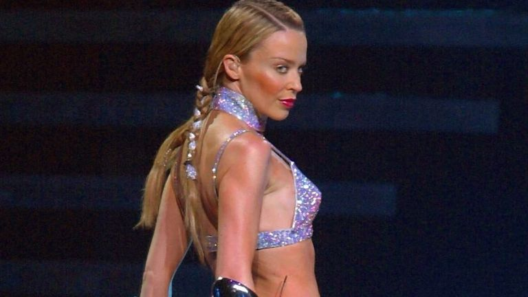 Kylie Minogue performing in Munich, Germany, in 2002