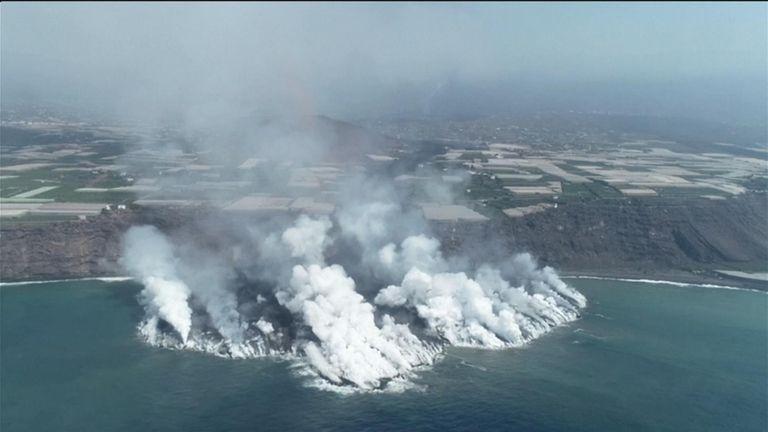 Drone footage shows lava trail of destruction