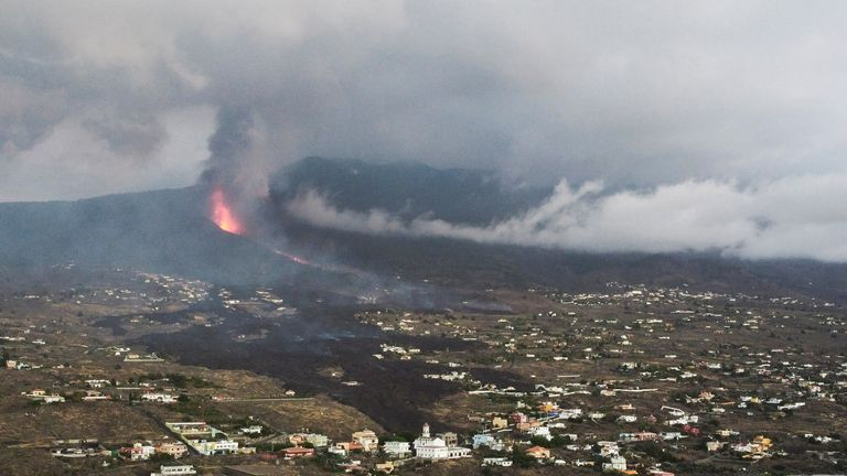 Lava and smoke following the eruption of a volcano