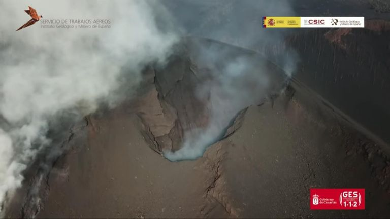 Drone shows inside of volcano crater