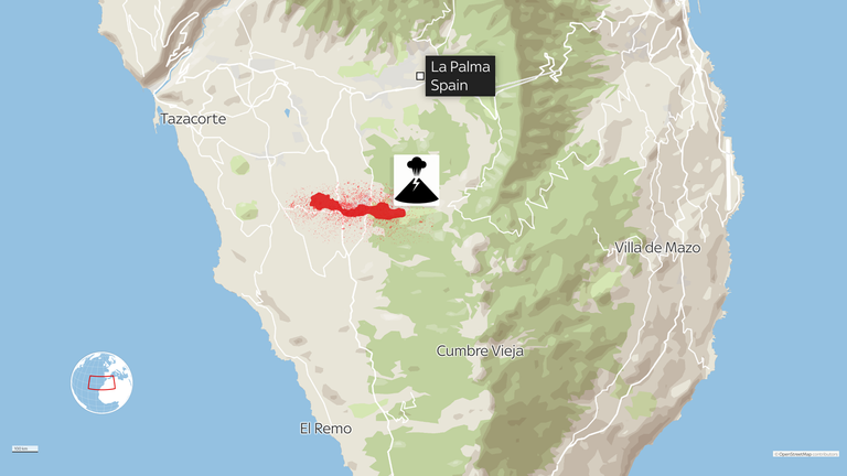 A map shows the location of the Cumbre Vieja eruption and the flow of lava