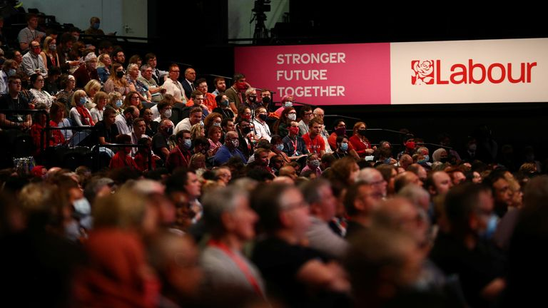 People attend Britain's Labour Party annual conference in Brighton, Britain, September 26, 2021. REUTERS/Hannah McKay
