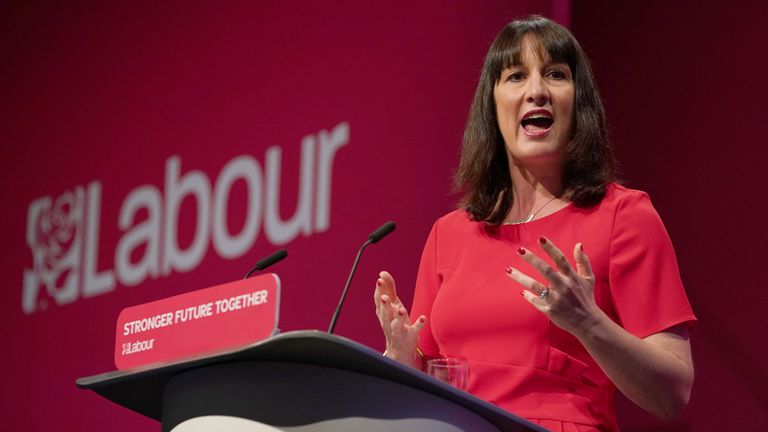 Shadow chancellor Rachel Reeves giving her keynote speech at the Labour Party conference