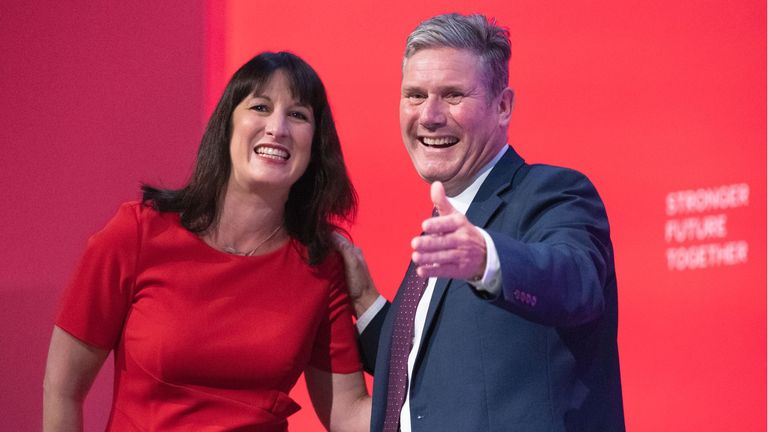 Shadow Chancellor of the Exchequer, Rachel Reeves with Labour Party leader, Keir Starmer after addressing the Labour Party conference in Brighton