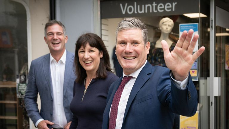 Party leader Sir Keir Starmer, shadow chancellor Rachel Reeves and Hove MP Peter Kyle during a visit to businesses in Hove, East Sussex where they met shop keepers and local people before attending the second day of the Labour Party annual conference in Brighton.