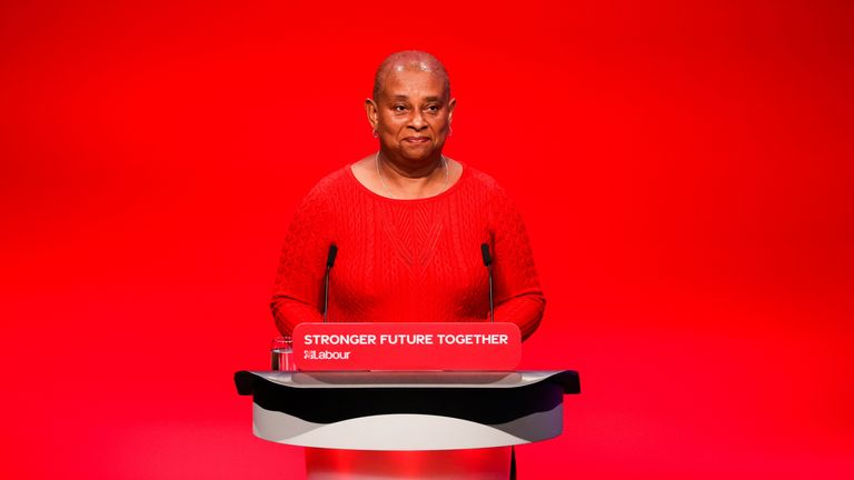 Doreen Lawrence speaks at Britain's Labour Party annual conference in Brighton, Britain, September 29, 2021. REUTERS/Hannah McKay