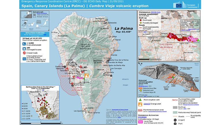 LA PALMA Canary Islands  MAP MUST LINK BACK AND CREDIT  https://www.gdacs.org/