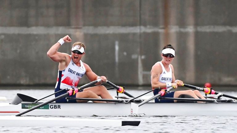 Laurence Whiteley and Lauren Rowles defended their rowing title. Pic: AP