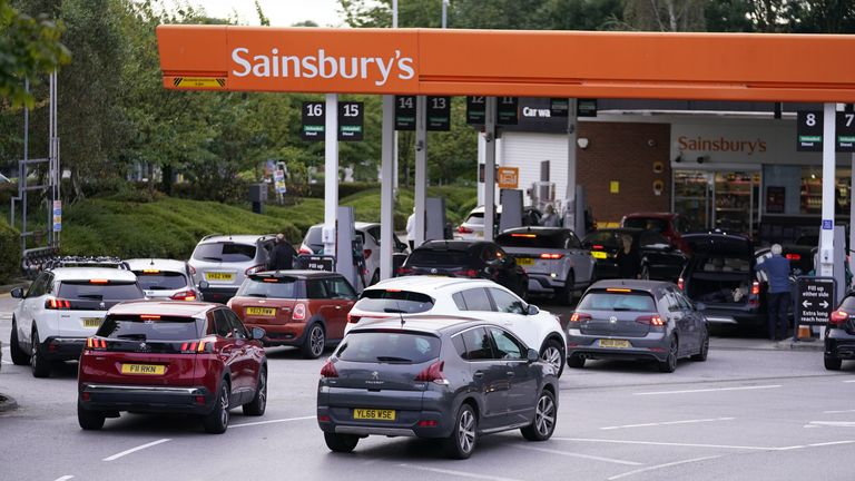 Queues at a Sainsbury's Petrol Station in Colton, Leeds