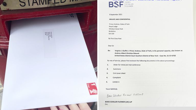 T way picture of Virginia Roberts's lawyers release photo of sex abuse legal papers being posted to Prince Andrew