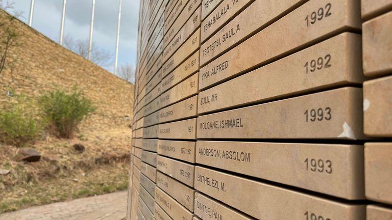 A memorial to people killed under apartheid