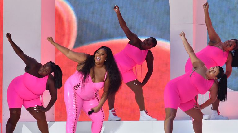 Lizzo was all smiles as she put on show for the thousands of people in New York