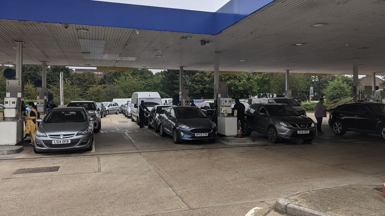 Long queues at petrol station in west London