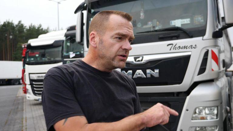 German lorry driver at truckstop.