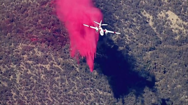 Firefighters tackle brush fire in California