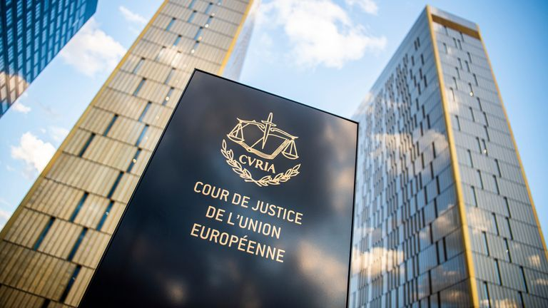 """15 June 2019, Luxembourg, Luxemburg: The picture shows a sign in front of the office towers of the European Court of Justice with the inscription """"Cour de Justice de l'union Europ'ene"""" in the Europaviertel on the Kirchberg. Photo by: Arne Immanuel B'nsch/picture-alliance/dpa/AP Images"""